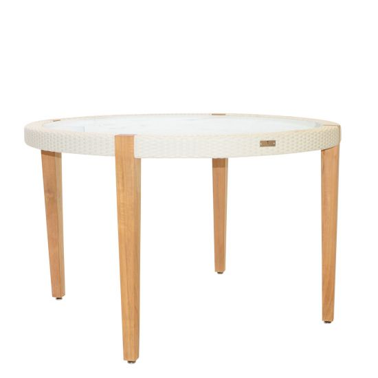 Quinta Teak U0026 Woven Dining Table Round   Limestone
