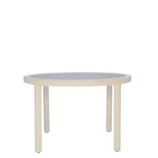 JANUSfiber Glass Top Table Round 119   Limestone Flat