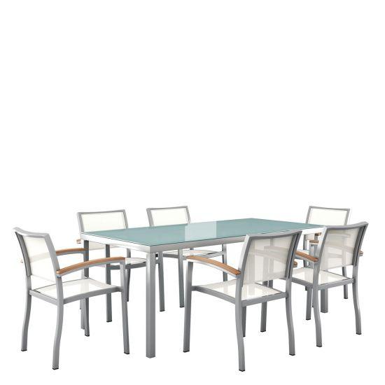 Koko Rectangular 7 Piece Dining Set   Silver