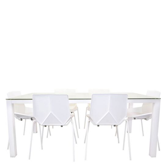Modern 7 Piece Dining Set Rectangle Snow White Janus Et Cie