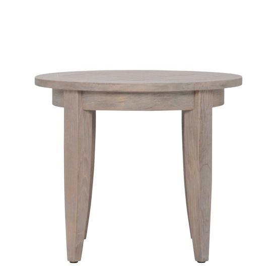 Round Teak Side Table.Relais Side Table Round Weathered Teak