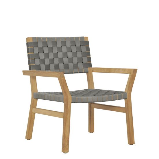 Awesome Tadlow Teak Strap Lounge Chair Greige Creativecarmelina Interior Chair Design Creativecarmelinacom