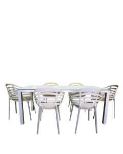 Chee 7 Piece Dining Set - Silver/Bone