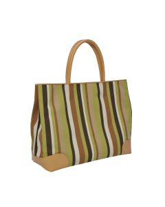 JANUS ET CIE CUSTOM TOTE BAG - Madera Stripe/Chestnut