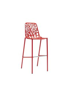Forest High Back Barstool - Coral Red