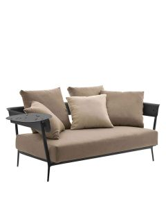 Candido Sofa 2 Seat with Arms - Metallic Grey