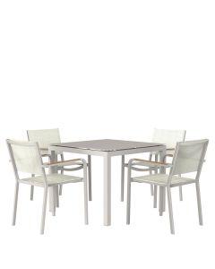 Avenue 5 Piece Dining Set Square - Talc