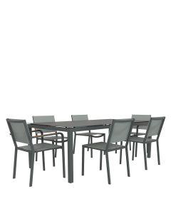Avenue 7 Piece Dining Set Rectangle - Graphite