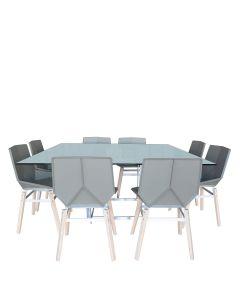 Modern 9 Piece Dining Set Square - Light Grey