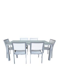 Koko 7 Piece Dining Set Rectangle - White