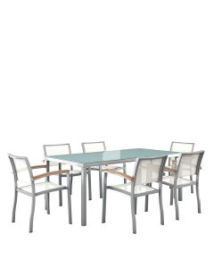 Koko 7 Piece Dining Set Rectangle - Silver