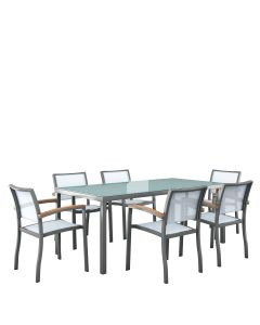 koko 7 piece outdoor dining set grey